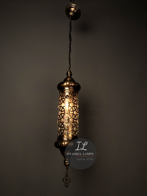 Ottoman Bronze Pendant Lamp Glassblowing Large