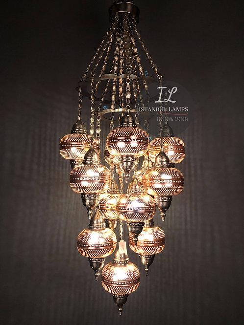 13 Piece Modern Turkish Bronze Chandelier With Gothic Motifs
