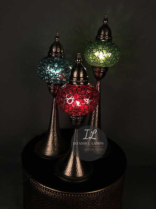 Colorful Bubbly Glass Ottoman Table Lamps Set