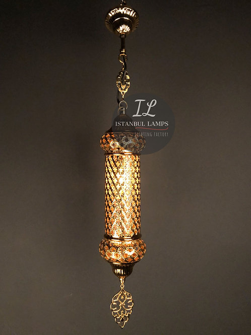 Cracked Glass Bronze Shiny Gold-Plated Cylinder Oriental Pendant Lamp