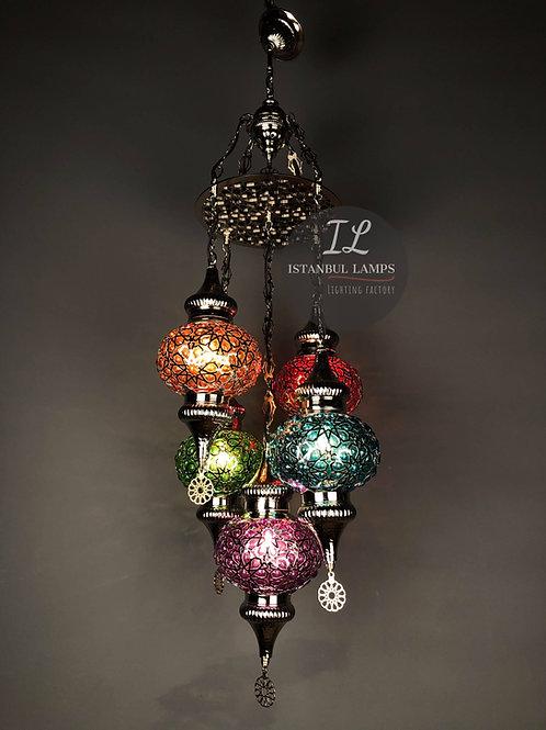 5 Piece Penç Motif Ottoman Glass Chandelier