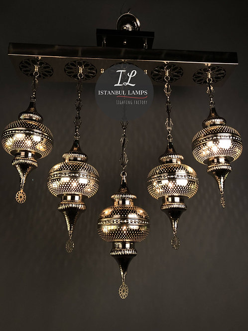 Nickel-Plated Turkish Rectangle Chandelier