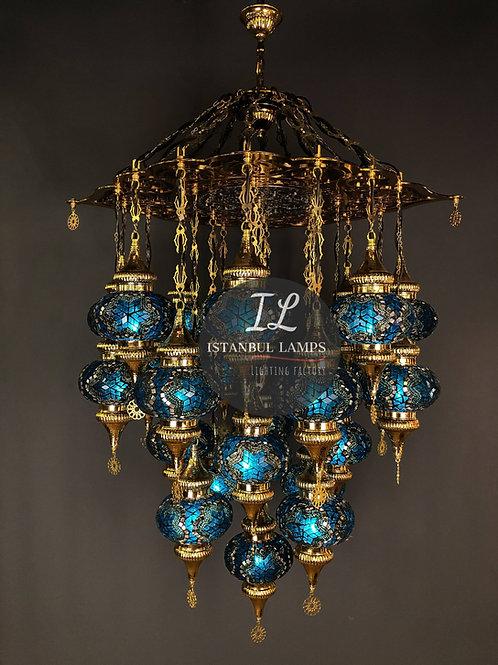 19 Piece Turkish Mosaic Chandelier Golden
