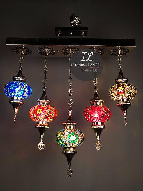 5 Piece Rectangle Turkish Mosaic Chandelier