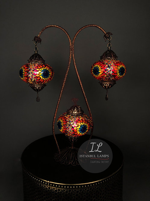 3 Piece Authentic Filigree Mosaic Turkish Table Lamp