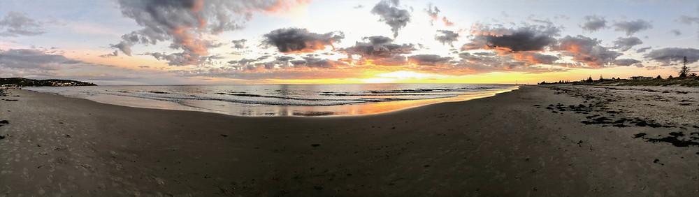 winter beach sunset panorama