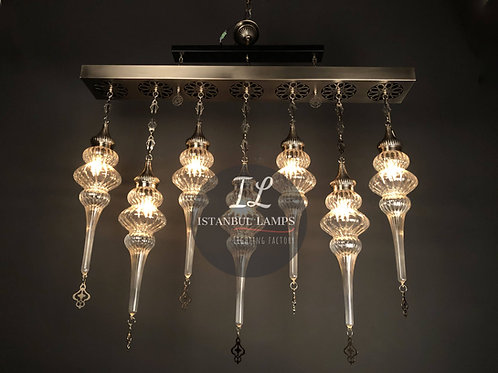 7 Piece Glassblowing Rectangle Ottoman Chandelier