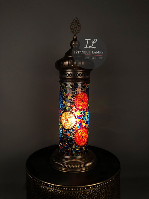 Oriental Cylinder Turkish Mosaic Table Lamp Large