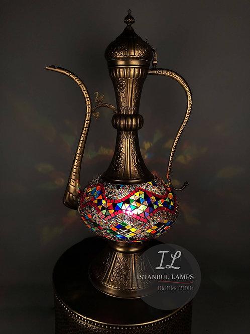 Oriental Bronze Turkish Mosaic Kettle Floor Lamp