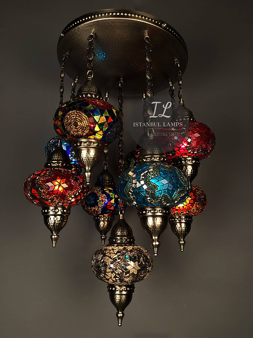 9 Piece Bronze Turkish Mosaic Chandelier