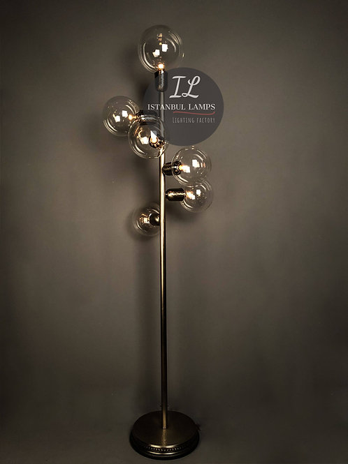 Contemporary Six Bulb Bronze Turkish Floor Lamp