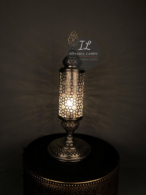 Cracked Glass Bronze Nickel-Plated Cylinder Oriental Table Lamp Large