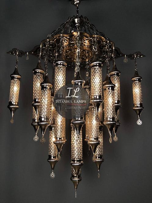 25 Piece Classic Ottoman Cylinder Bronze Chandelier
