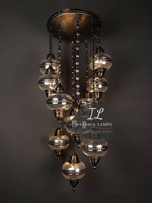11 Piece Turkish Nickel-Plated Chandelier