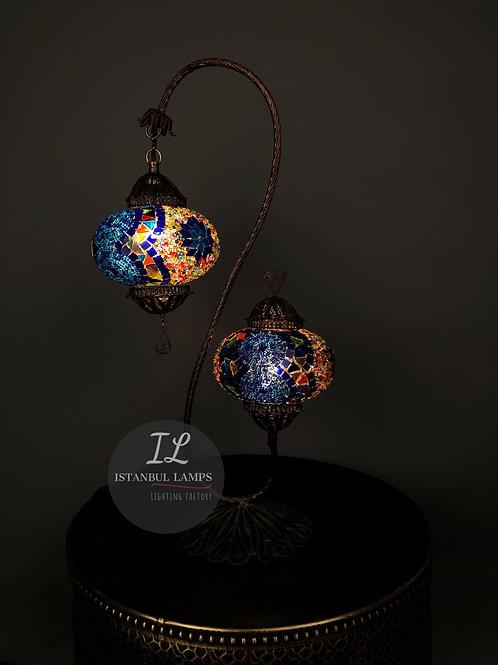 2 Piece Authentic Filigree Mosaic Turkish Table Lamp