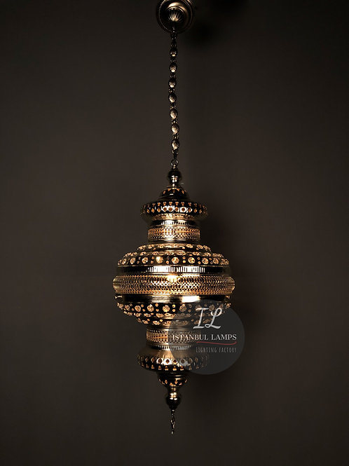 Turkish Pendant Lamp With Encrusted Crystal Glass