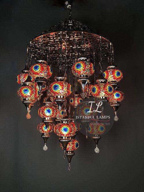 25 Piece Mosaic Turkish Chandelier Penç Motif