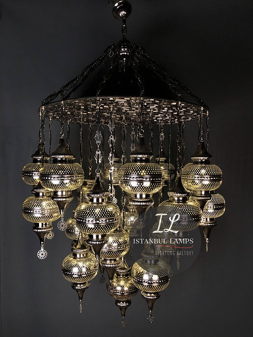 25 Piece Turkish Bronze Nickel-Plated Chandelier