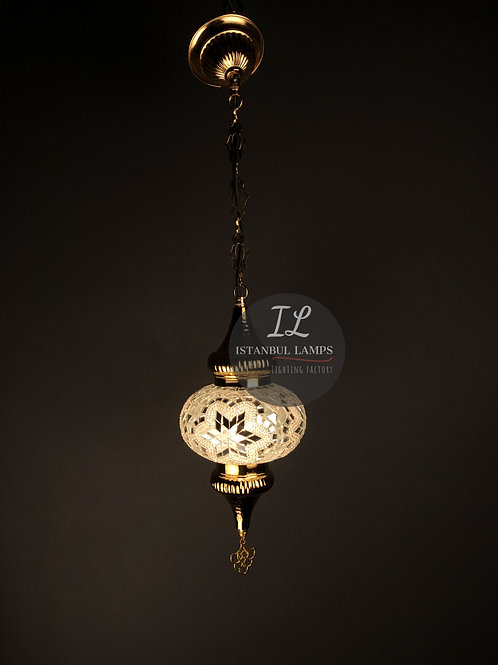 One Piece Mosaic Pendant Lamp Traditional Golden Design