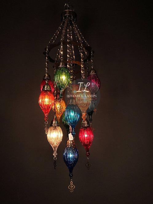 13 Piece Colorful Bronze Ottoman Chandelier