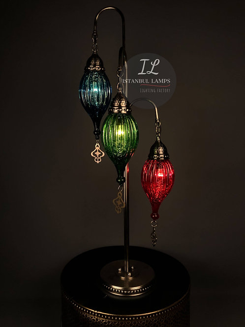 Classic Ottoman Colored Glass Floor Lamp 3 Piece