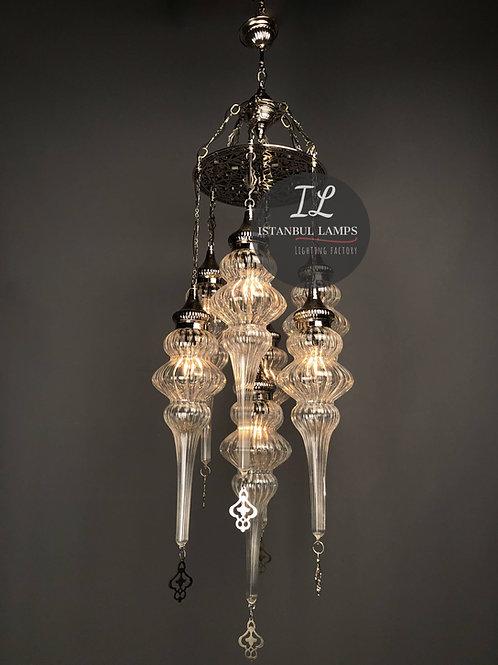 7 Piece Brass Ottoman Pirex Glass Chandelier