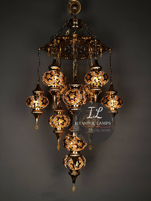 13 Piece Mosaic Turkish Chandelier Golden Brass