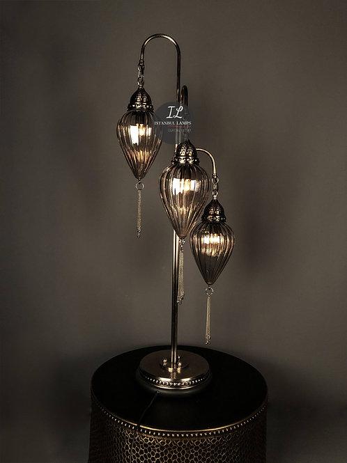 Classic Ottoman Dark Glass Floor Lamp 3 Piece