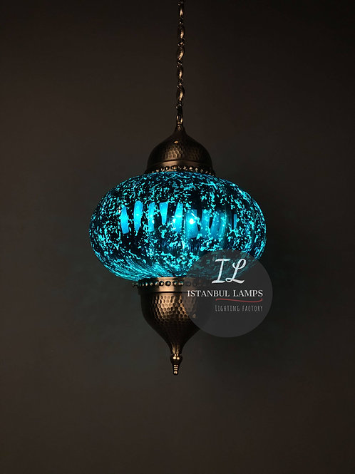 Blue Ottoman Pendant Lamp in Aged-Effect Silvery Glass