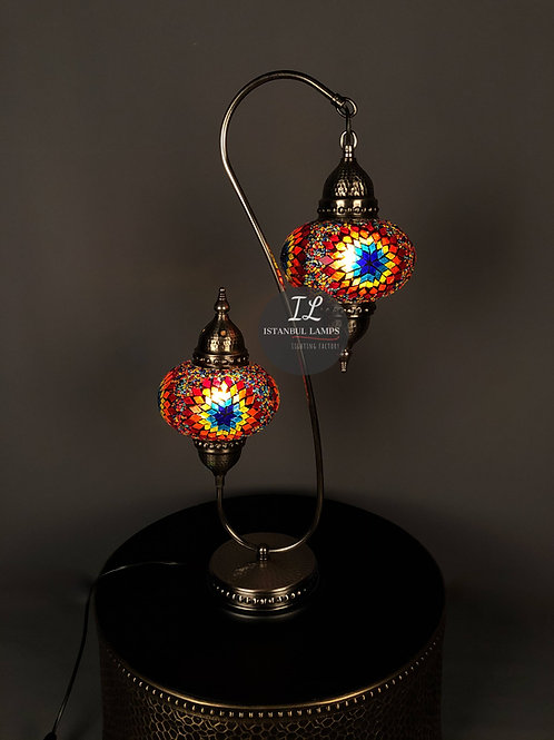 2 Piece Authentic Bronze Nickel-Plated Mosaic Table Lamp