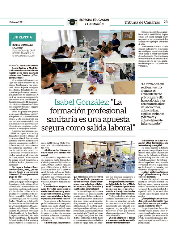 Entrevista del periódico LA TRIBUNA a la fundadora de Dental traines y Abad Serrador