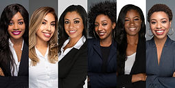 Group of six happy minority businesswome