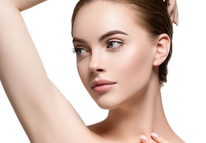 Armpit woman clean healthy skin hand up.