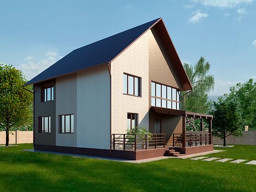 пример дизайн фасада сайдинга доломит