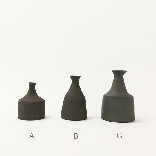 Miniature Black Ceramic Stoneware Vase (Select size for price)