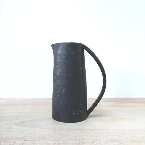 Large black stoneware jug