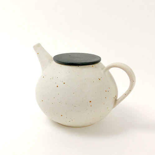 Frosted White Tea Pot with Black Lid