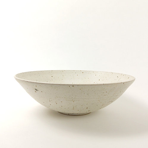 Large hand thrown stoneware bowl - oatmeal glaze