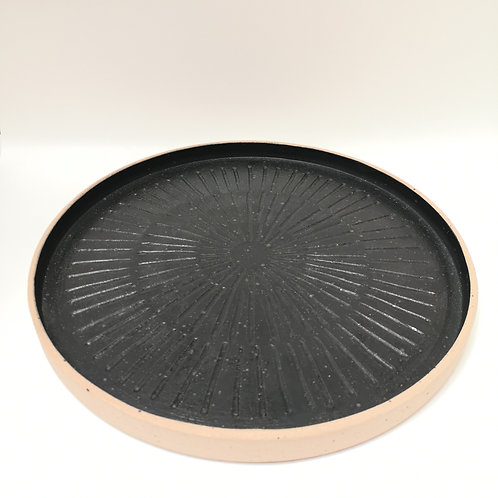 Hand carved black stoneware platter