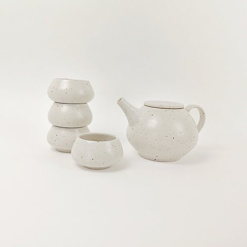 White Stoneware Teapot  and Tea Bowl Set