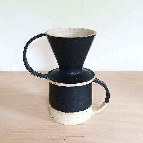 Black speckled coffee dripper with handle