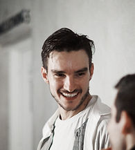 Tristan Nielsen smiling with Barcode Circus Company