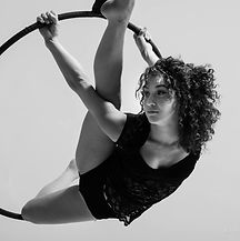 alexandra royer doing aerial hoop with barcode cirque