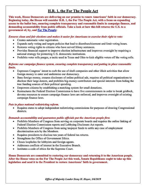 Steny Hoyer HR 1 Fact Sheet 3.6.19 PDF c