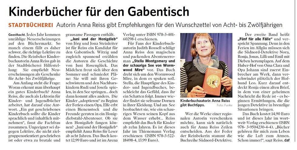 Artikel in LLZ (Lauenburgische Landeszei