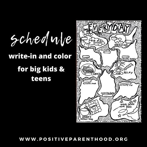 Big Kid Write-In Schedule B&W