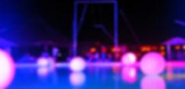 Nighttime ambiance at Cancun pool, 2008
