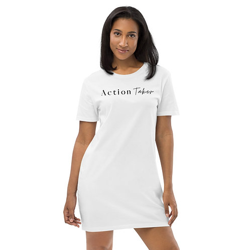"""Action Taker"" Organic cotton t-shirt dress (White/Light)"