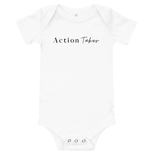 """""""Action Taker"""" Baby short sleeve one piece (Light Colors)"""