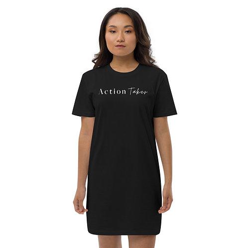 """Action Taker"" Organic cotton t-shirt dress (Dark)"